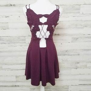 Free People Open Back Fit Flare Mini Dress